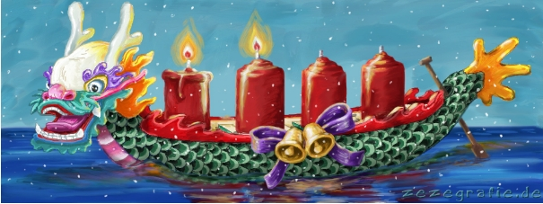 illustration berlin drachenboot advent weihnachten