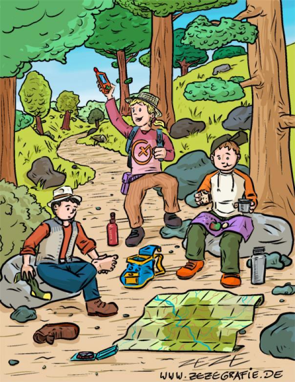 Illustration Suchbild Geocaching GPS Rast Pause Wald Orientierung Kinder