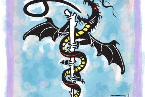 illustration asklepios dragon symbol stab schlange drache