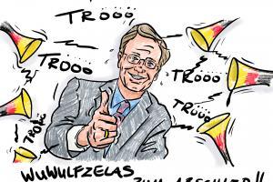 Karikatur Christian Wulff  Zapfenstreich 2012