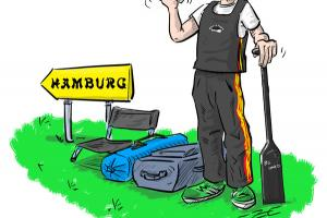 Illustration Drachenboot Paddler Mitfahrgelegenheit Hamburg