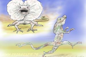 skizze illustration kragebechse drohen laufen
