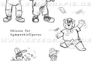 skizze sympathiefigur maskottchen handwerker erklärbär hipster