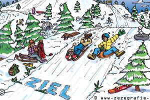 Suchbild Schlittenfahrt Winter Wettrennen Testen